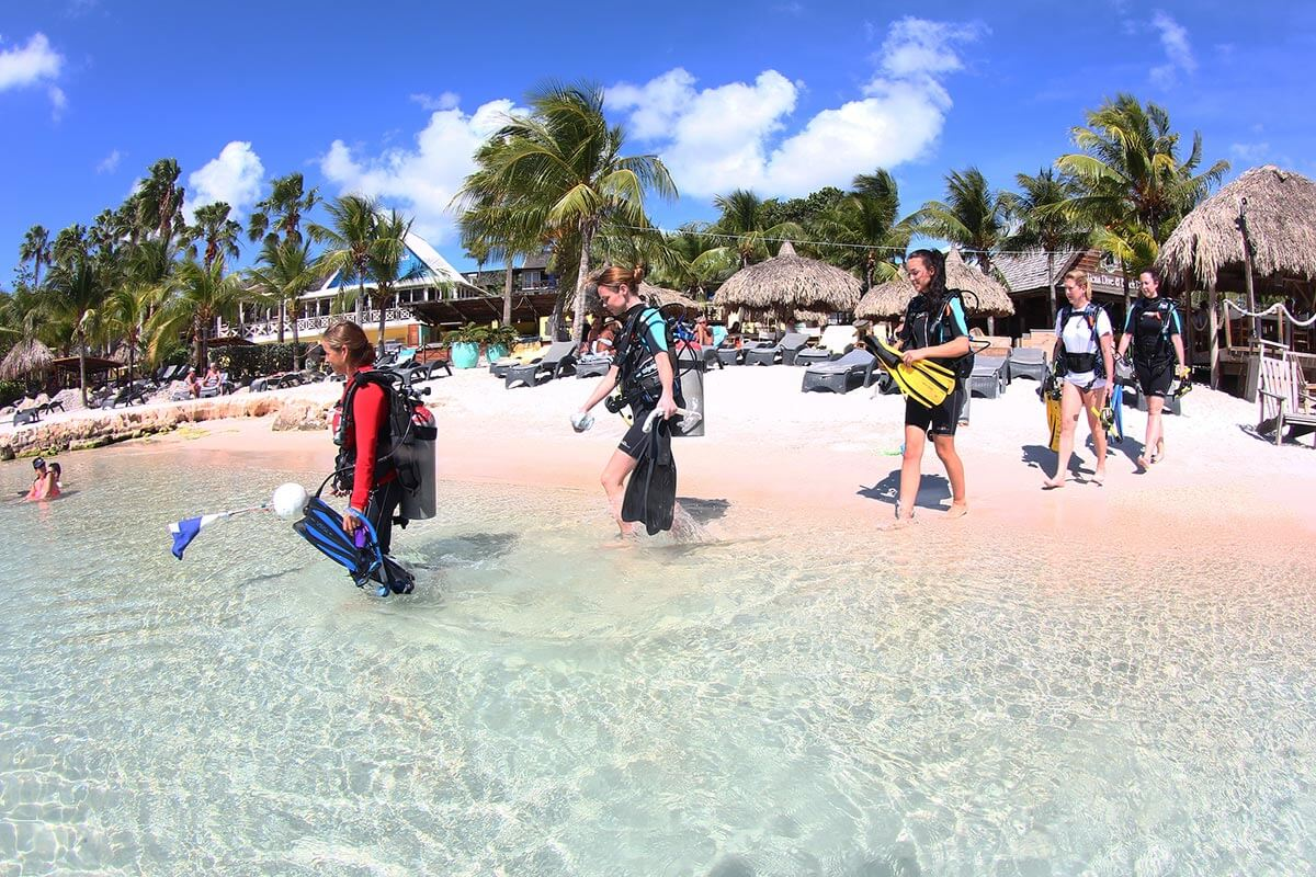Shore dives can begin right from the private beach at Lions Dive Beach Resort.