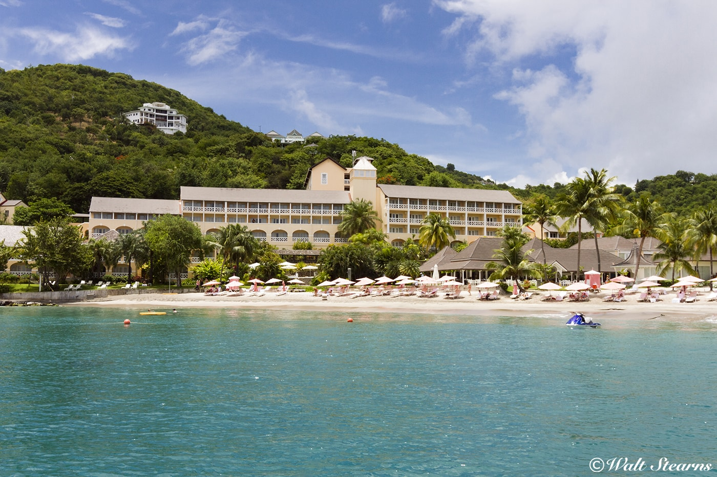 The BodyHoliday Resort overlooks a white sand beach on the northwest coast of St. Lucia. Diving and snorkeling reefs begin just offshore.