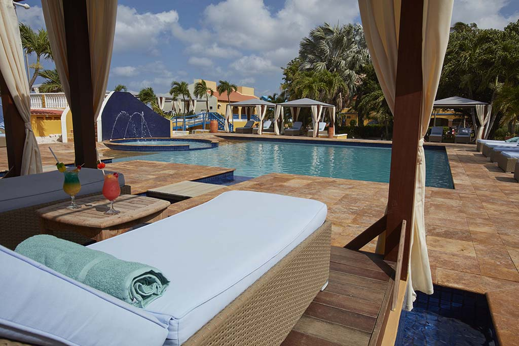 oth pools at Divi Flamingo were upgraded during the recent property-wide renovation, and are now fitted with mineral-based purification systems.