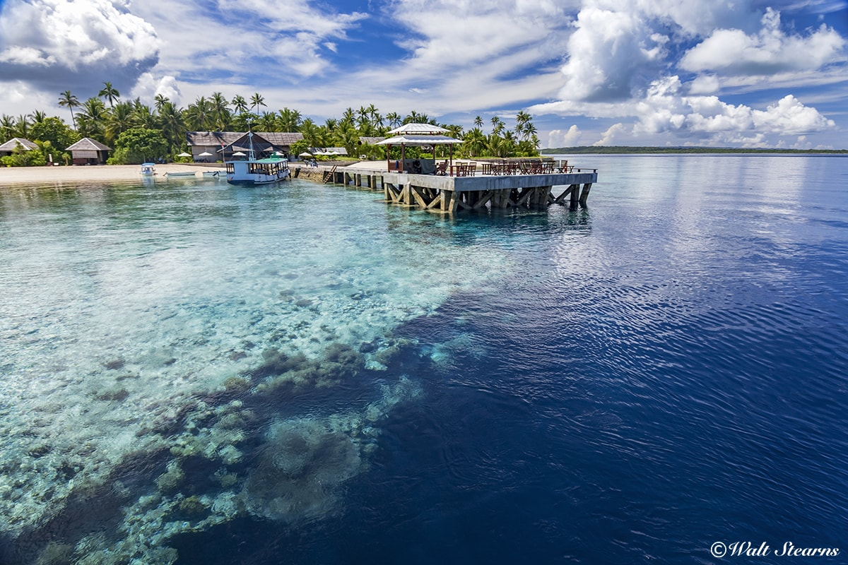 The pier at Wakatobi Resort extends to the edge of a dramatic dropoff.