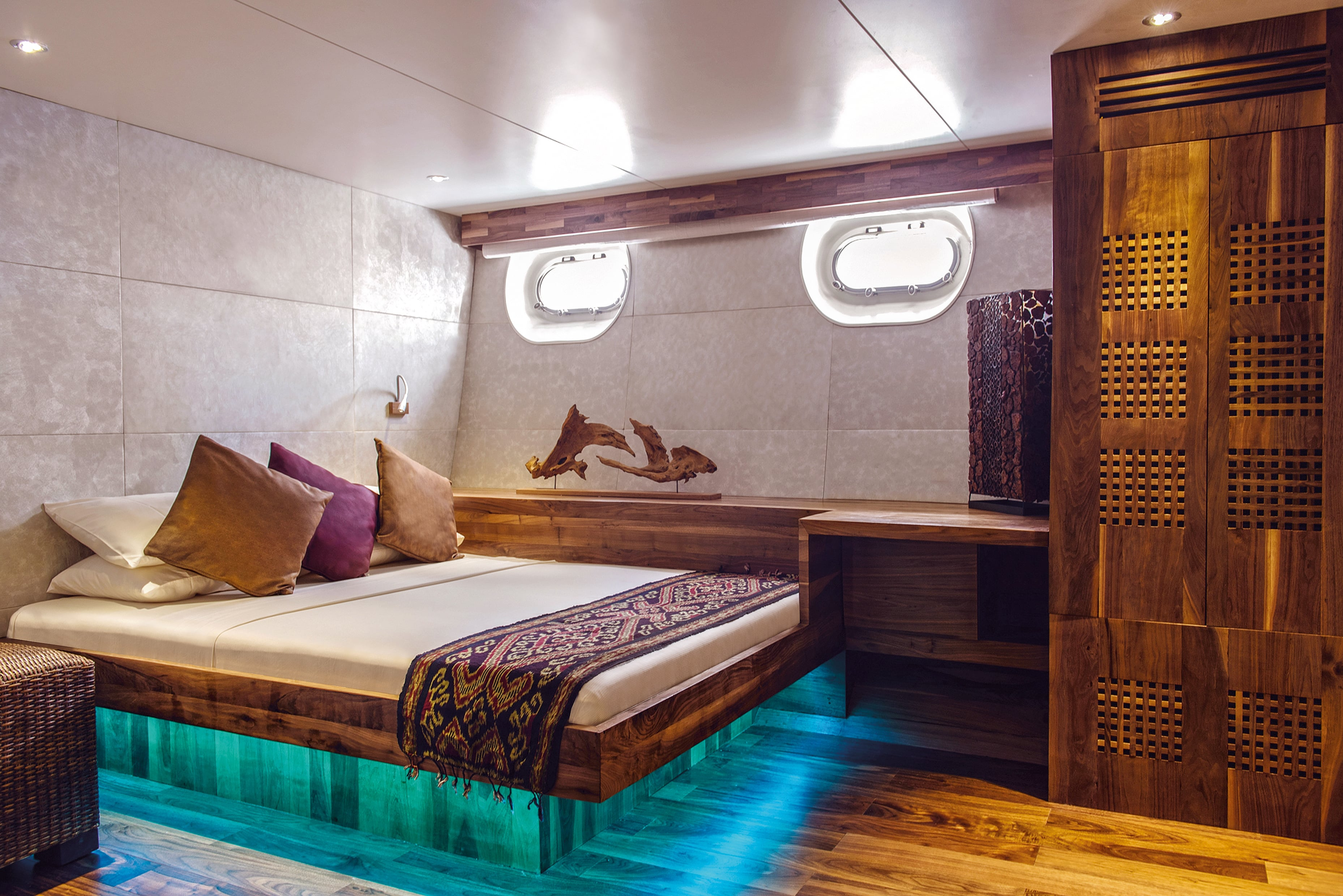 Luxurious cabins and rich decors are a hallmark of Maldives liveaboard dive yachts.