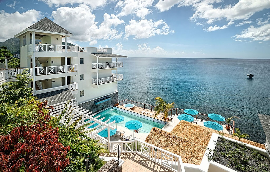 Fort Young Hotel & Dive Resort is built into an 18th Century fortress that overlooks the Caribbean.