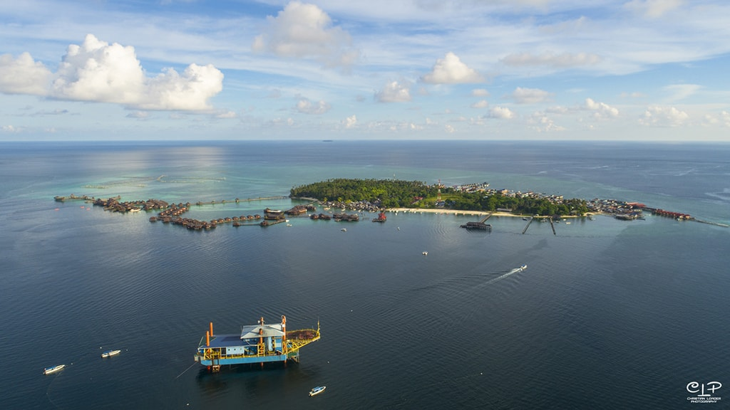 The SeaVentures rig sits close to the island of Mabul.