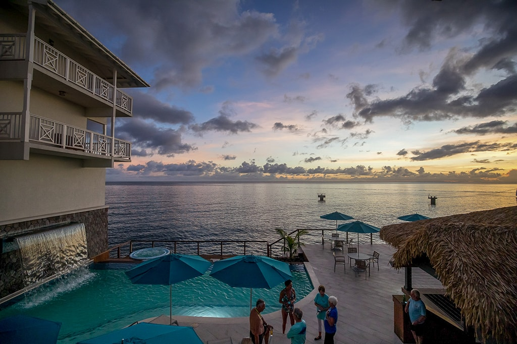 The hotel's pool deck is a favorite place to relax and enjoy sunsets.