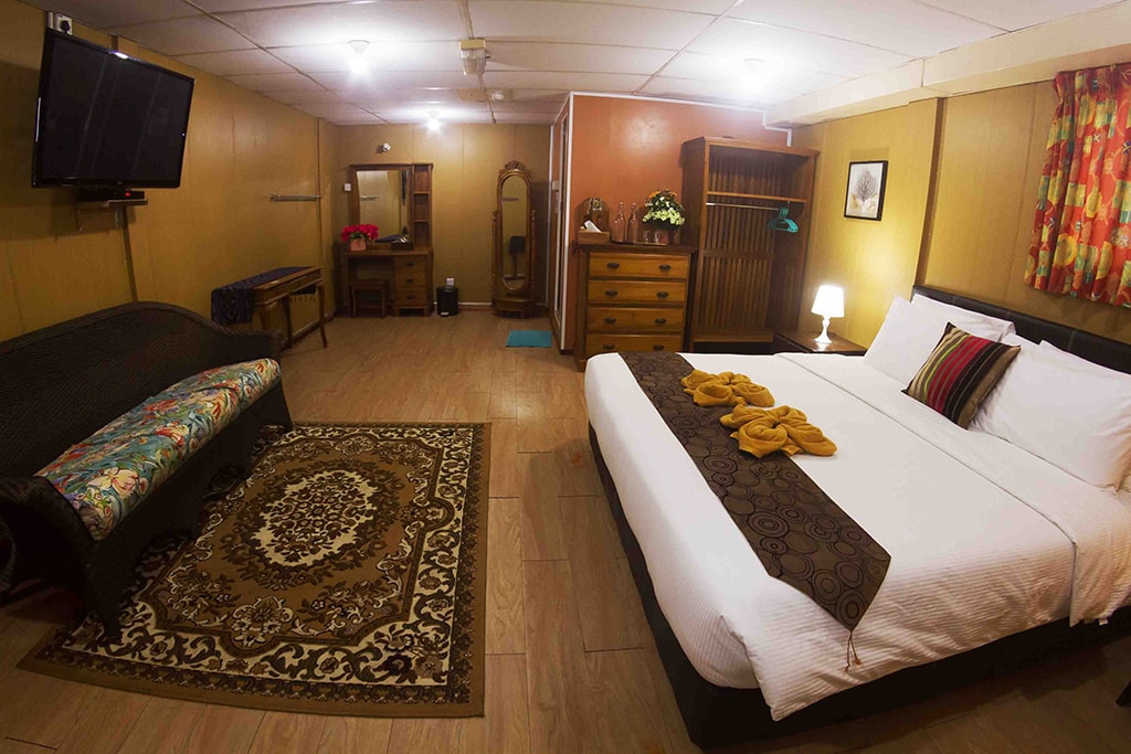A deluxe cabin on the rig provides all the comforts of a land-based hotel room.