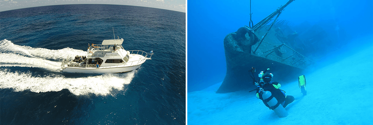 In addition to sites all around Cayman Brac, Reef Divers boats make the file-miles crossing to Little Cayman Island.