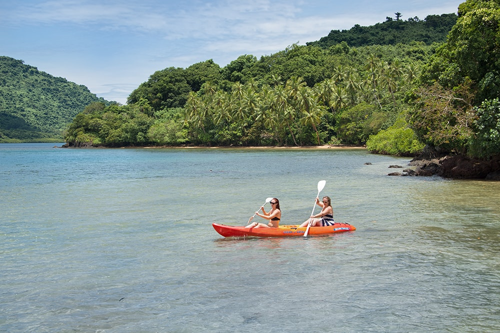 Kayak trips into the sheltered waters of  Malumu Bay lead to pristine coastlines where there are no signs of civilization.