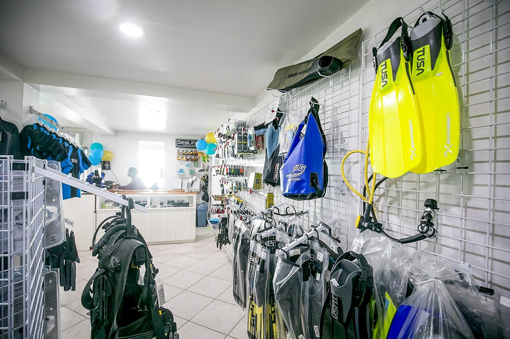 The full-service dive center offers retail, rental and gear storage.