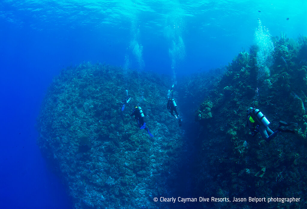 The north side of Grand Cayman is known for sheer walls and pinnacles that project outward into blue water.