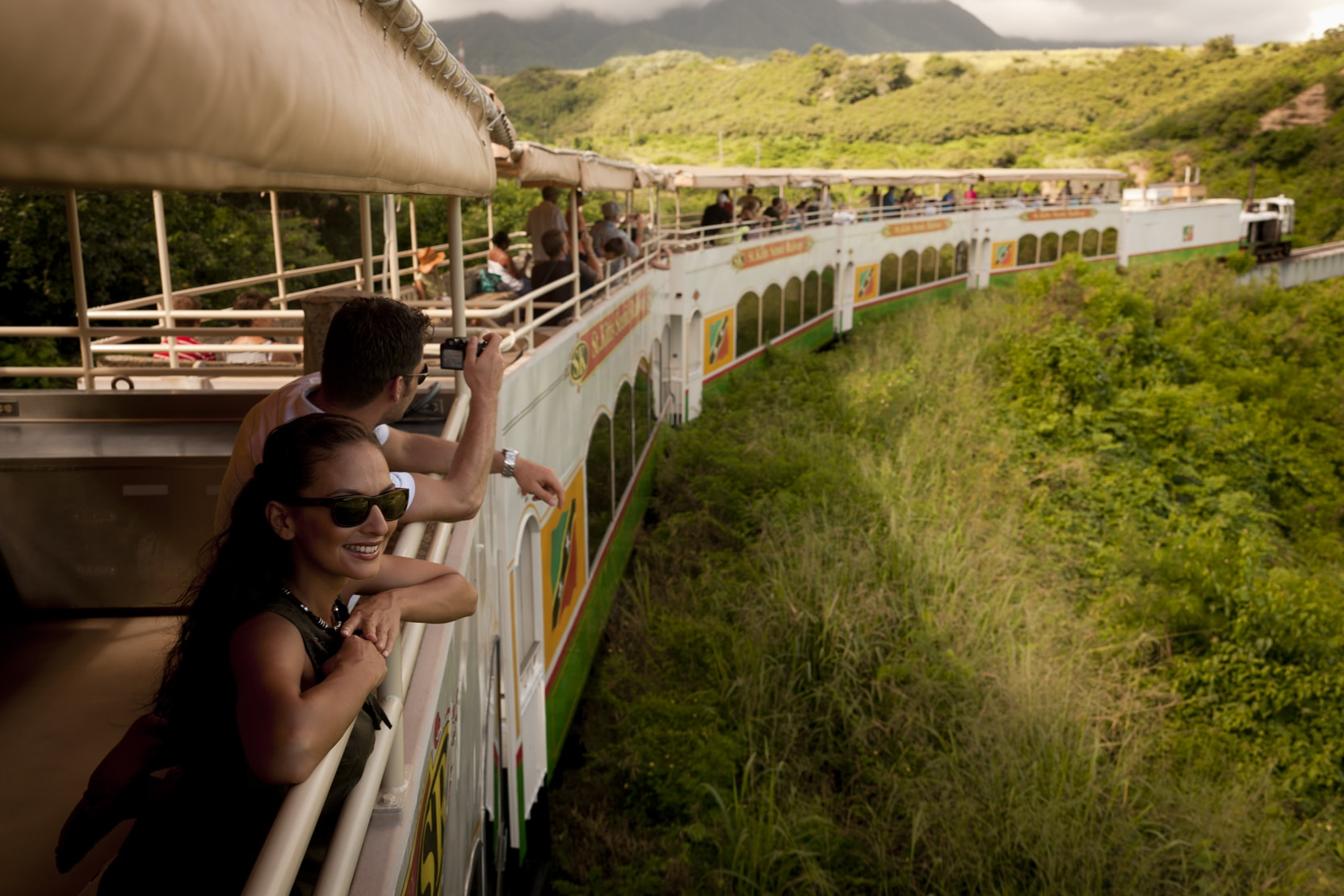 The St. Kitts Scenic Railway runs along the coast on tracks that once carried sugar cane to the mills.