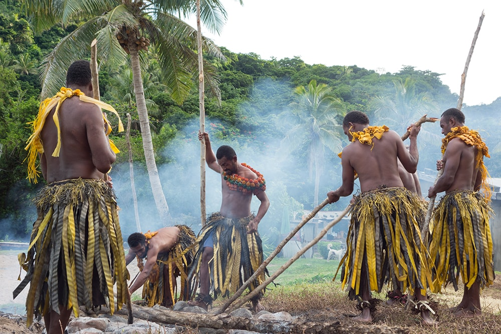 The fire walkers of Beqa Island are famous for their ability to walk across fire-heated rocks with impunity.