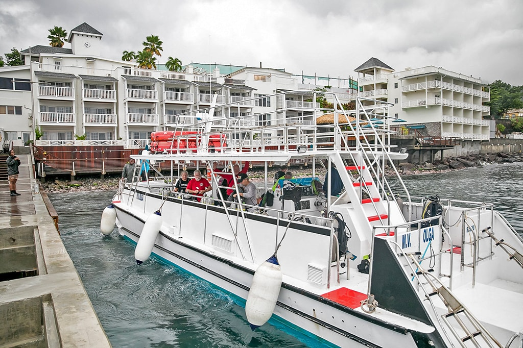 The dive center's custom-built power catamaran has a large, shaded deck and secure twin boarding stations.