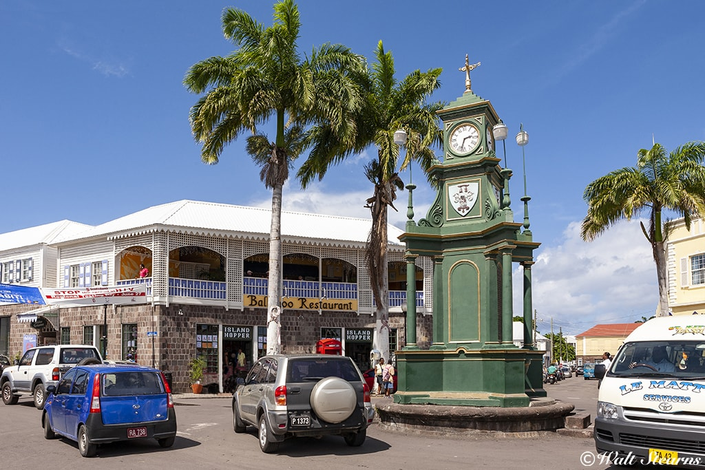 The Berkeley Memorial Clock sits in the middle of Basseterre's central roundabout known as the Circus.