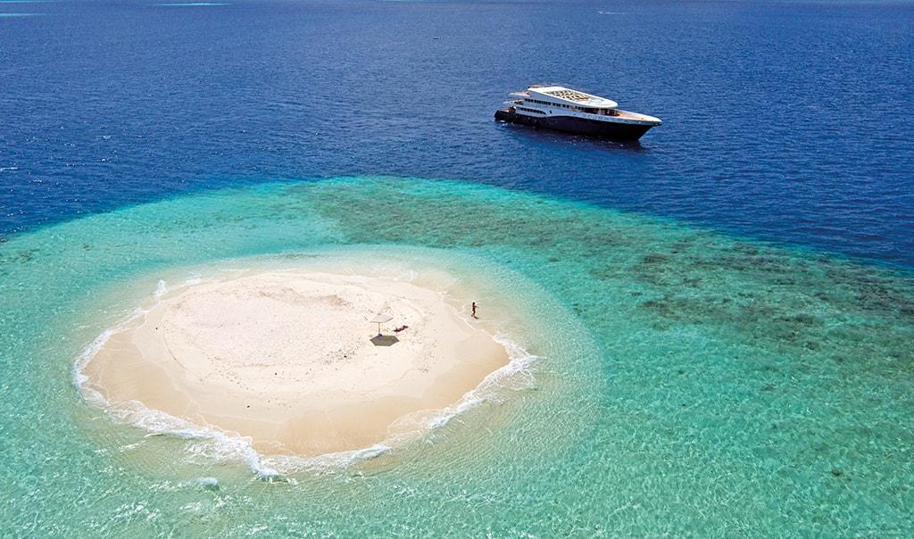 Liveboard dive boats venture into the more remote corners of the Maldives.