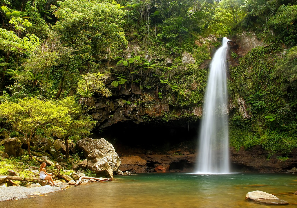 Taveuni's Bouma Falls rewards hikers with a chance to cool off in a natural freshwater pool.