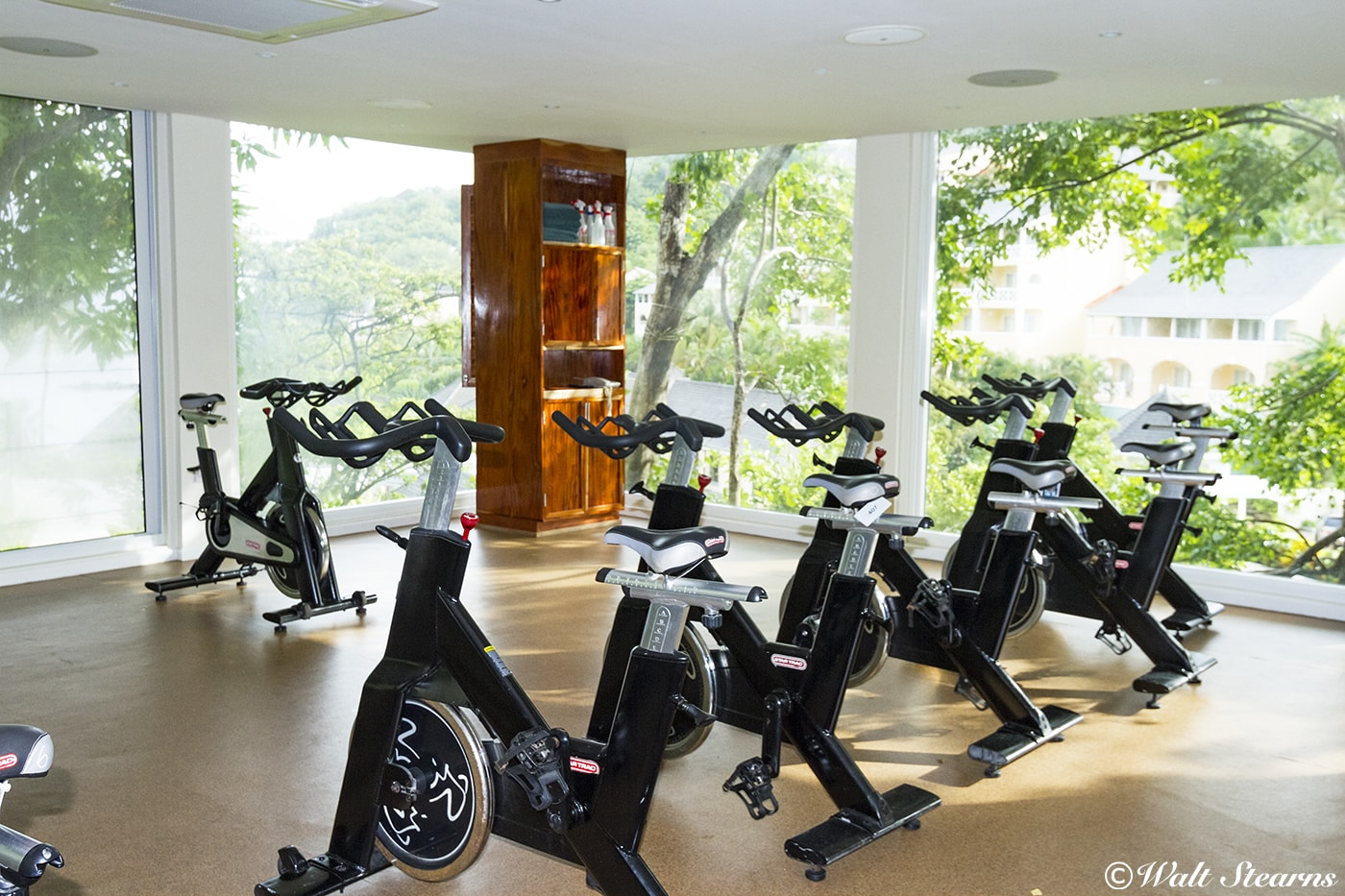 Spin bikes await at the Treetop Fitness Center, where inspiring views come with each workout.