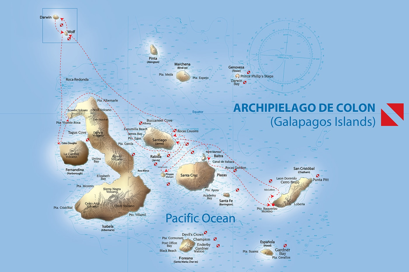 A typical one-week itinerary for the Galapagos Sky.
