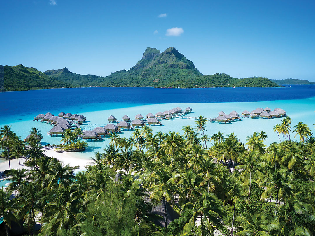 A View Of The Overwater Bungalows At The Bora Bora Pearl Beach Resort, With  Mount