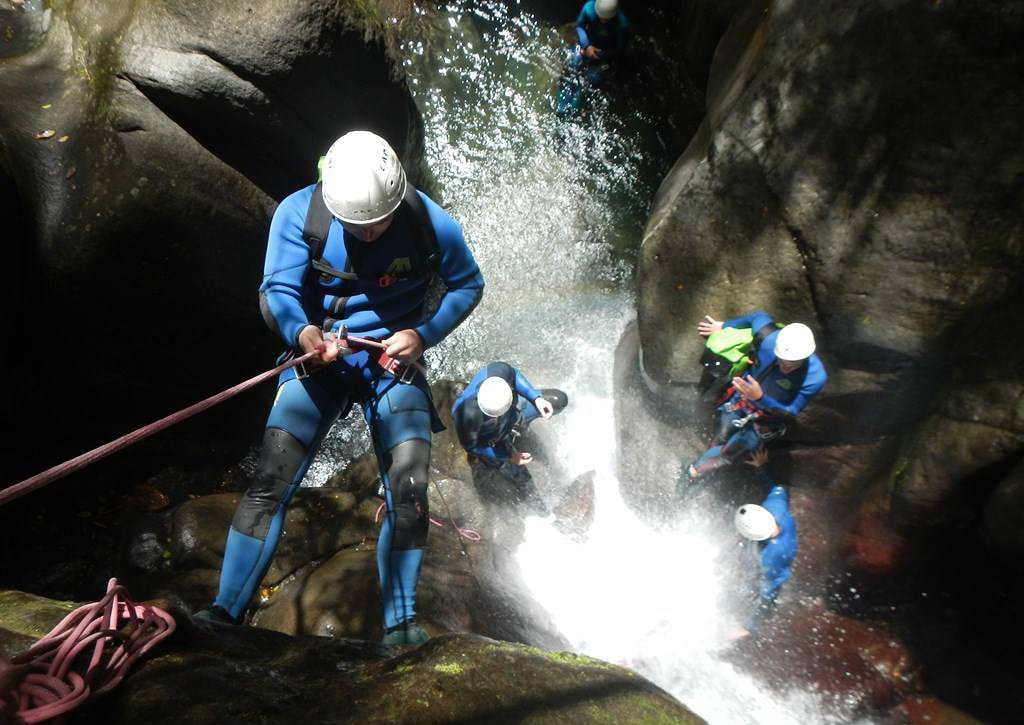 Canyoneering is a sport in which participants climb, rappel and swim through rushing rivers and waterfalls.