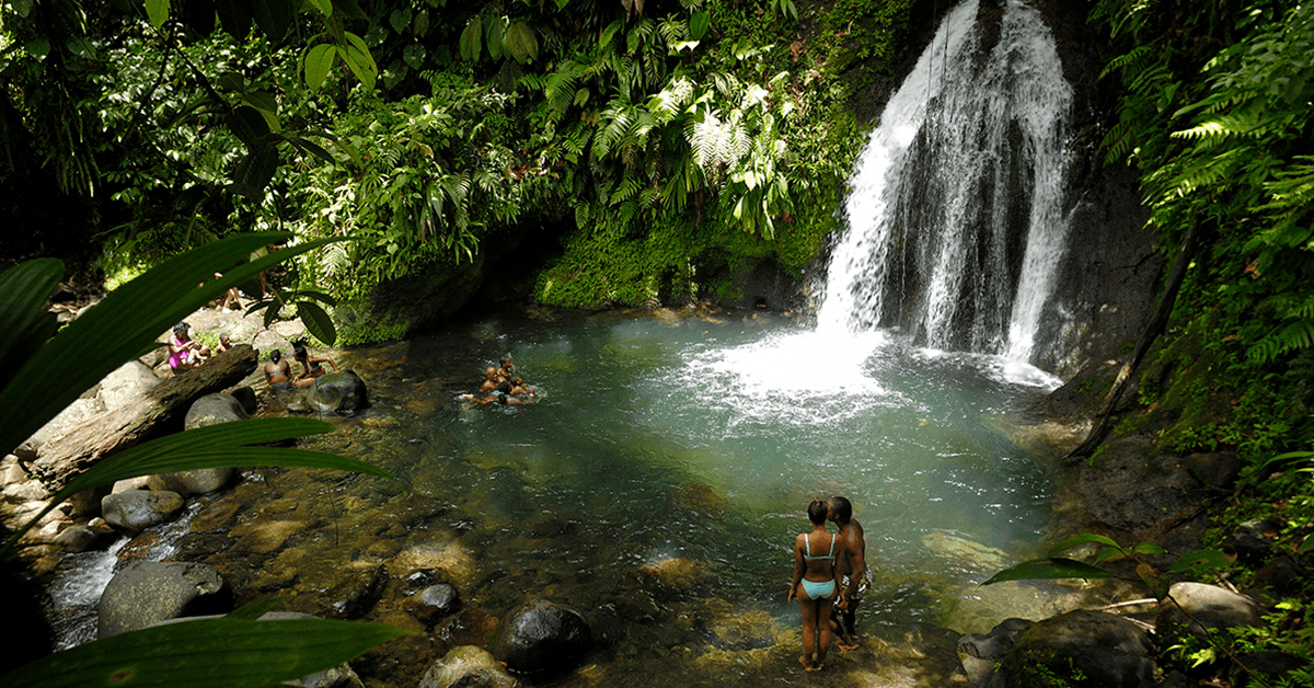 The waterfalls and the rainforest slopes of Guadeloupe's lush Basse-Terre are home to a number of cascades that spill cool fresh water from volcanic slopes.