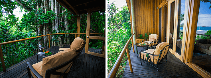 Namale offers accommodations to fit everyone's needs. On the left is a view from the Garden Tropical deck while the right showcases the deck from the Ocean Deluxe room category.