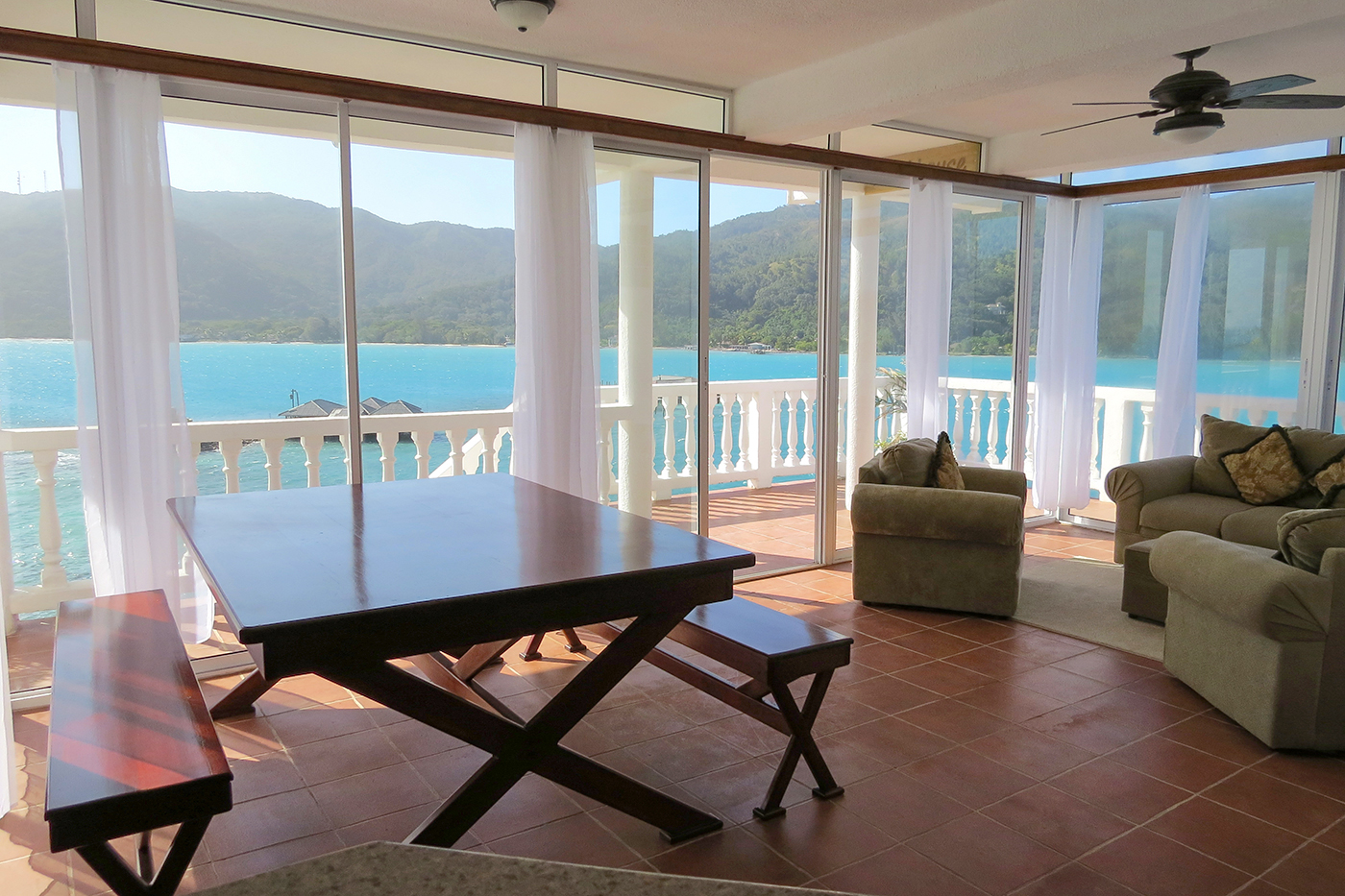The view from the living room area of the penthouse suite, which perches more than 70 feet above the lagoon.