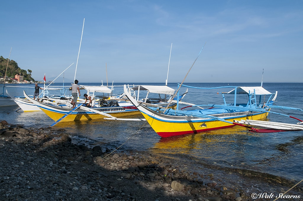 Traditional boats known as bankas are used to ferry small groups of divers to sites.