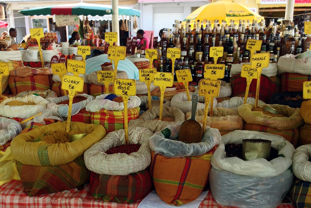 The Saint-Antoine spice market immerses visitors in the aromas and flavors of Guadeloupe's Creole heritage.