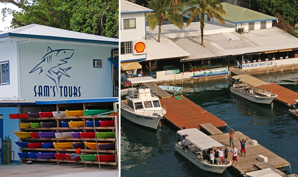 Dive trips and kayak tours depart from the dive center for sites on reefs and in the Rock Islands.