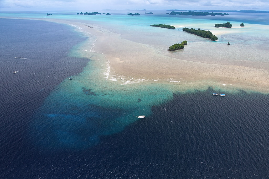 An aerial view of the dive site known as Blue Corner.