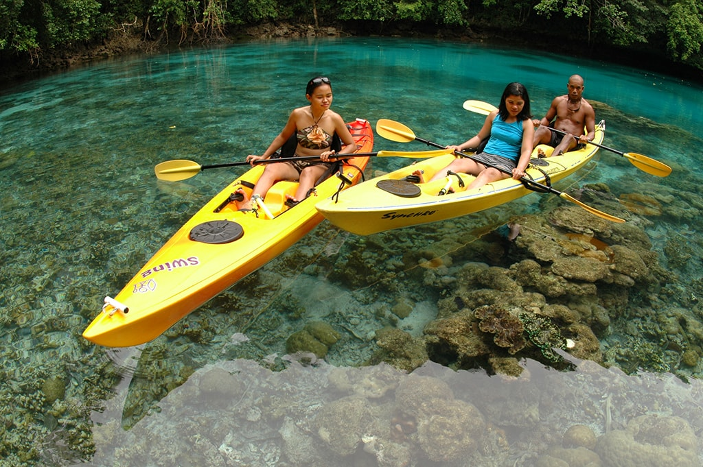 Kayaks provide access to hidden coves where corals grow close to the surface.