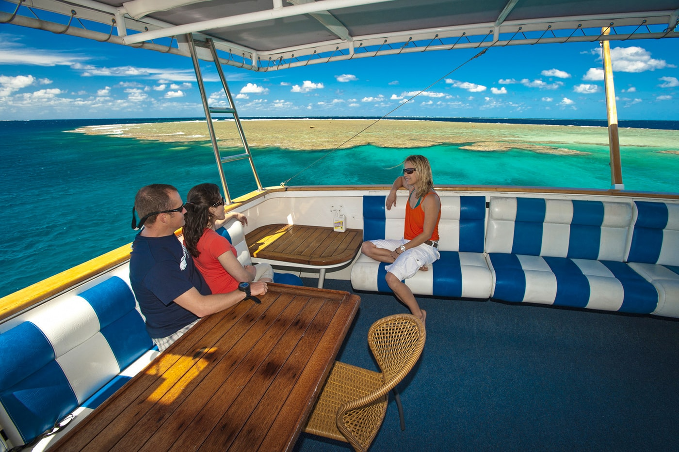 The Spirit of Freedom's top deck includes both open and shaded lounge areas, with great water views.