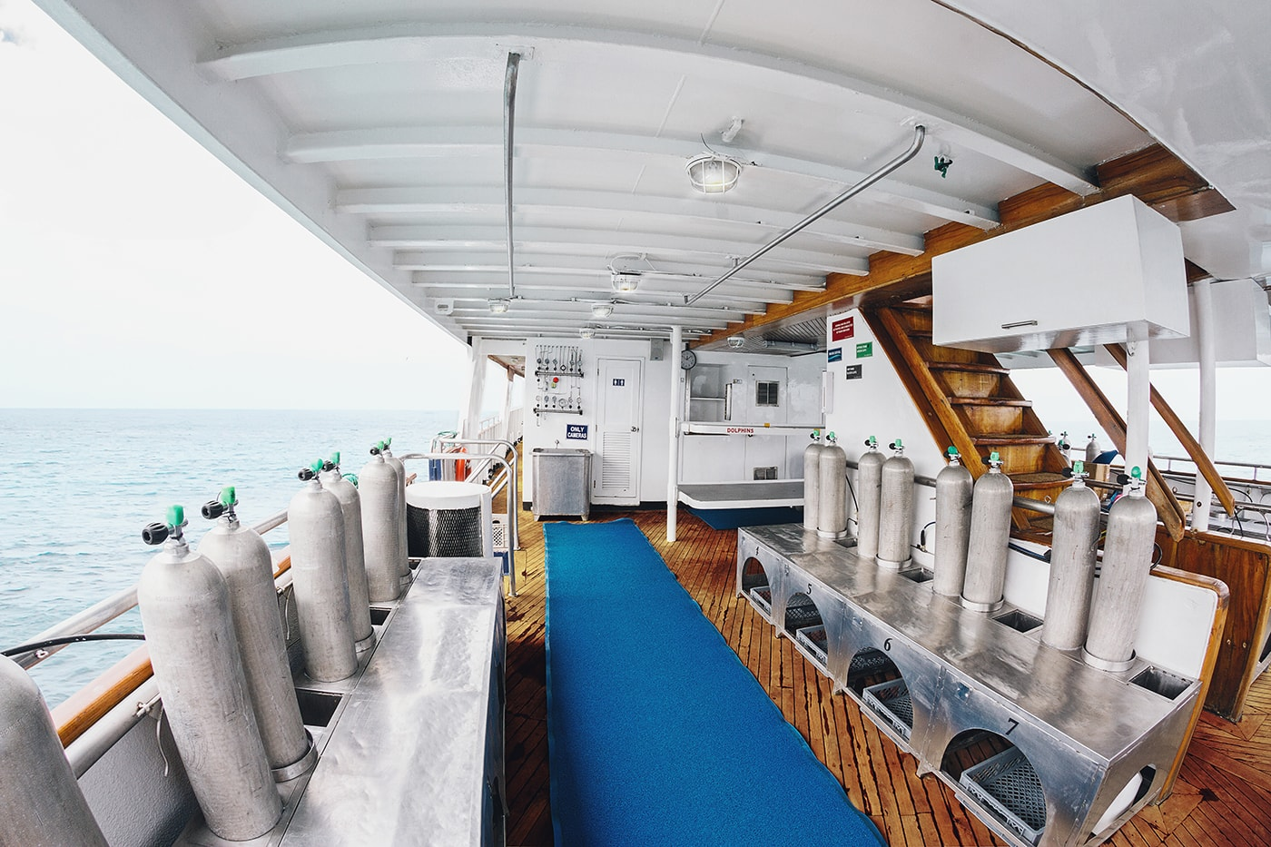 The well-organized dive deck of the Galapagos Sky provides each diver with ample space for gearing up, along with personal storage space below the bench.
