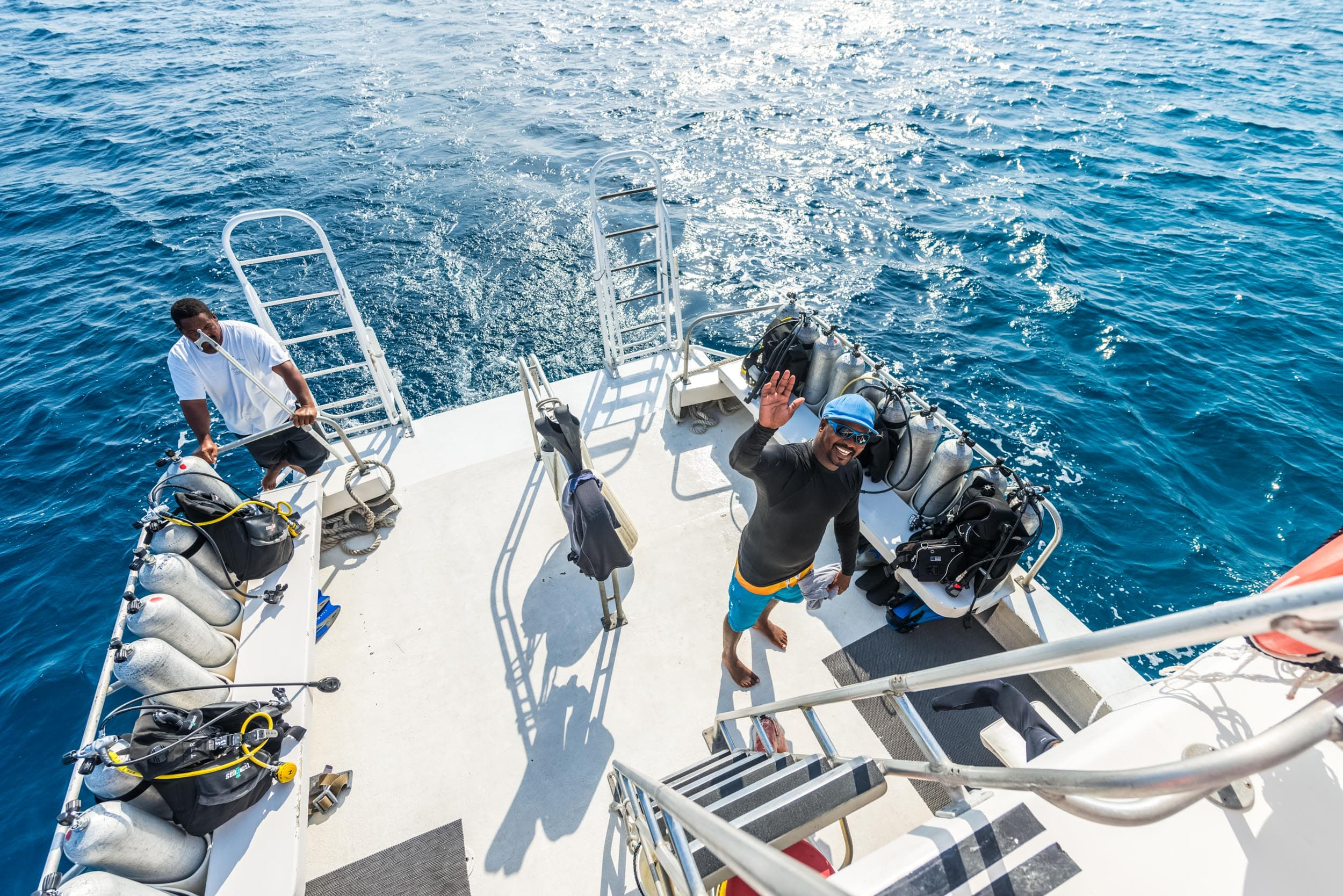 Day trips to the Blue Hole are made aboard one of the resort's two Pro 42 inboard dive boats.