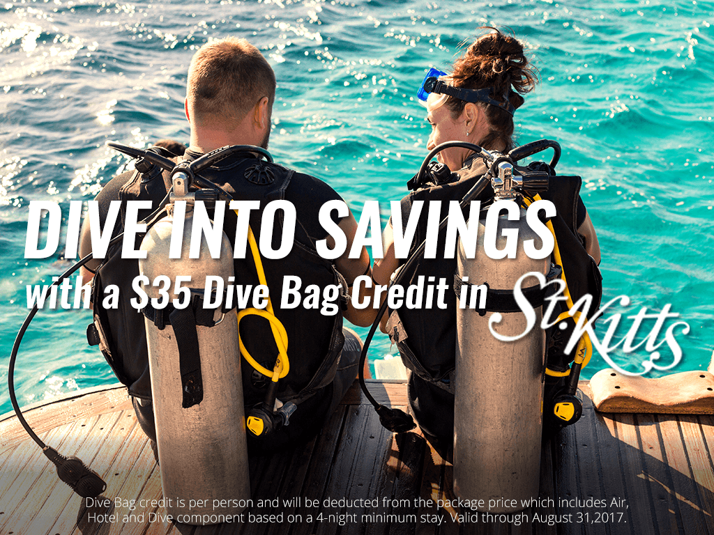 Dive Bag credit is per person and will be deducted from the package price which includes Air, Hotel and Dive component based on a 4-night minimum stay. Valid through August 31,2017.