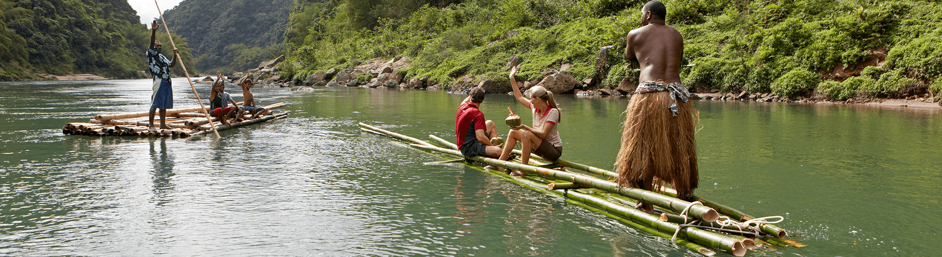Enjoy a relaxing trip down the Navua River on an authentic Bilibili raft with the Raiwaqa Village tribesmen as they share the beauty of Fiji's enriching culture.