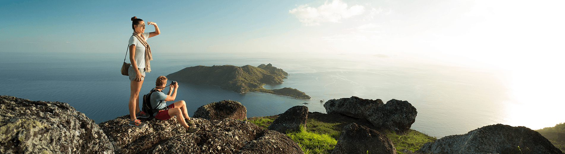 In Fiji, you can take a hike deep into the natural rainforests and find yourself at picturesque mountainous peaks near the coastline.