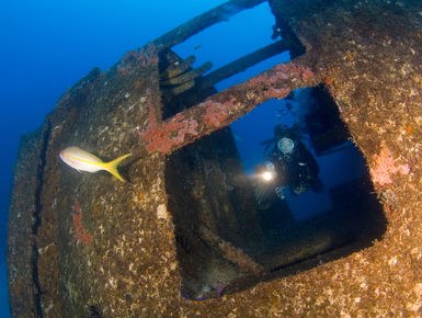 Diver exploring the Hilma Hooker wreck in Bonaire