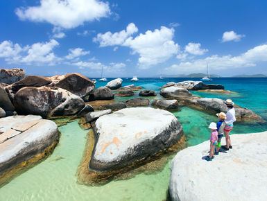 Famous shoreline rock formations of the Baths at Virgin Gorda