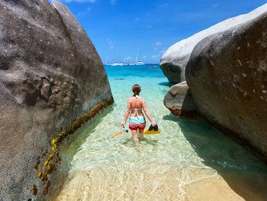 Famous shoreline rock formations of the Baths at Virgin Gorda