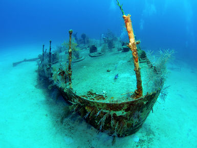 The wreck of the Oro Verde at rest in the clear, blue waters of Grand Cayman